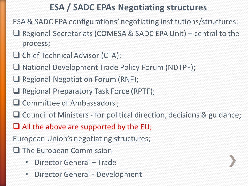 ESA / SADC EPAs Negotiating structures