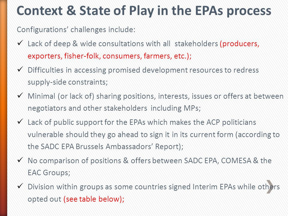 Context & State of Play in the EPAs process