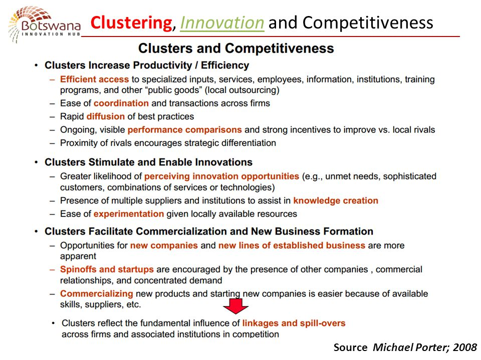 Clustering, Innovation and Competitiveness