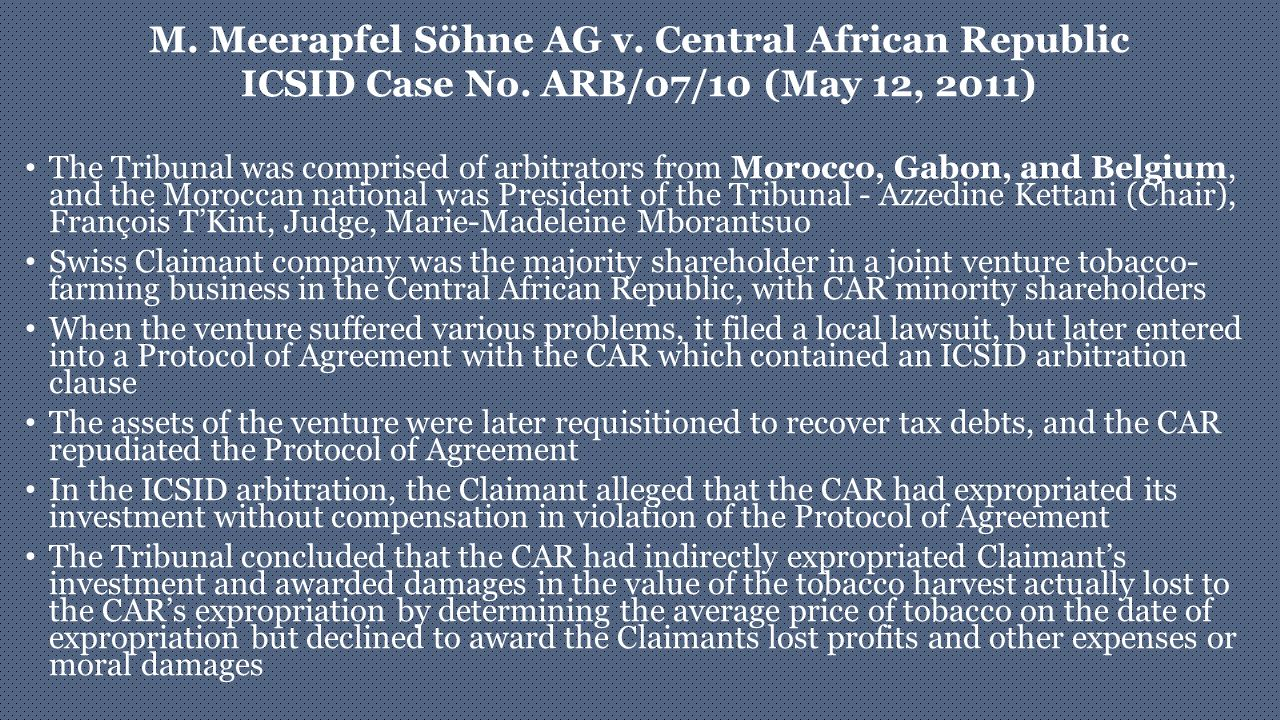 M. Meerapfel Söhne AG v. Central African Republic