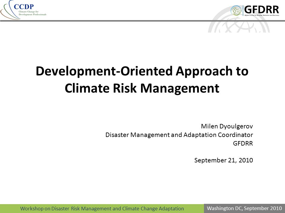 Development-Oriented Approach to Climate Risk Management