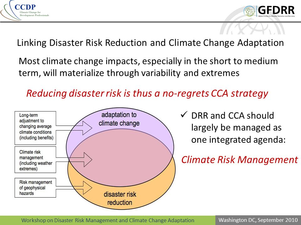 Linking Disaster Risk Reduction and Climate Change Adaptation