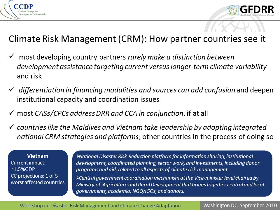Climate Risk Management (CRM): How partner countries see it