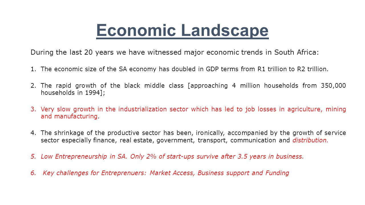 Economic Landscape During the last 20 years we have witnessed major economic trends in South Africa: