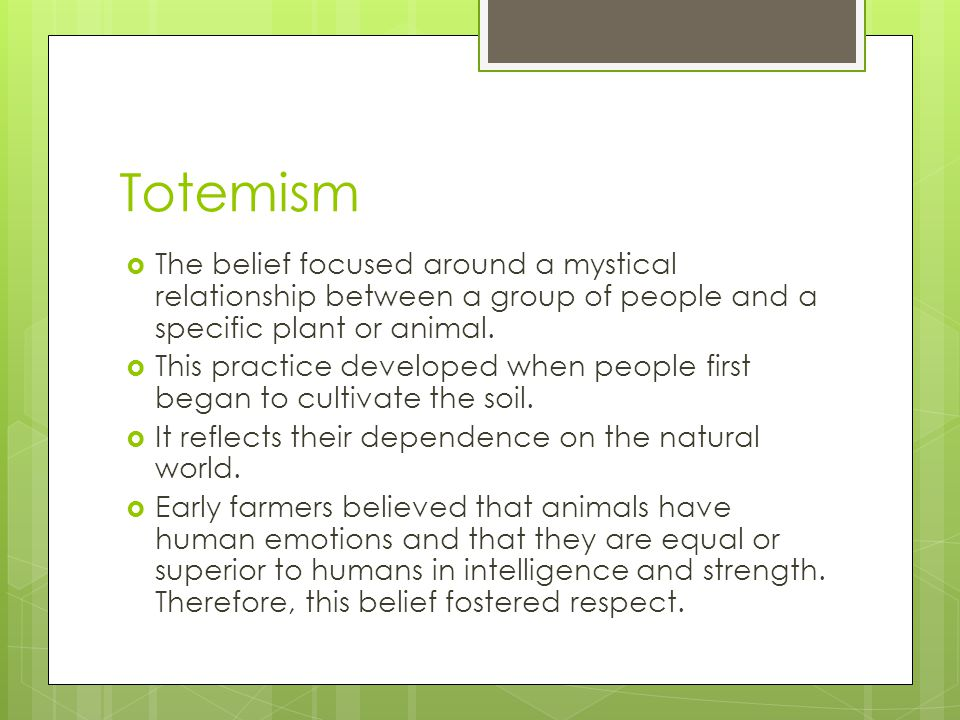 Totemism The belief focused around a mystical relationship between a group of people and a specific plant or animal.