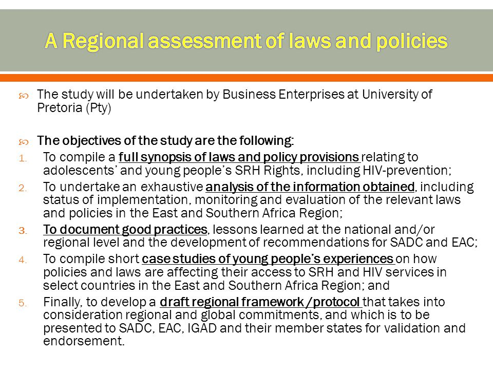 A Regional assessment of laws and policies