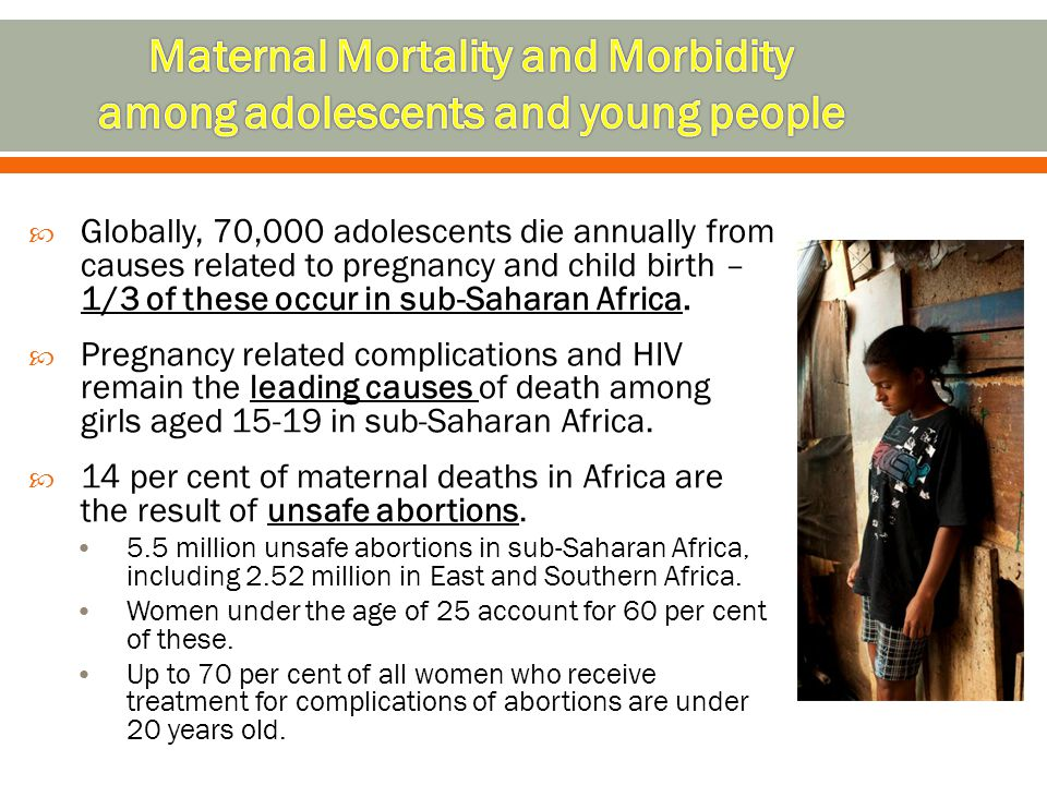 Maternal Mortality and Morbidity among adolescents and young people