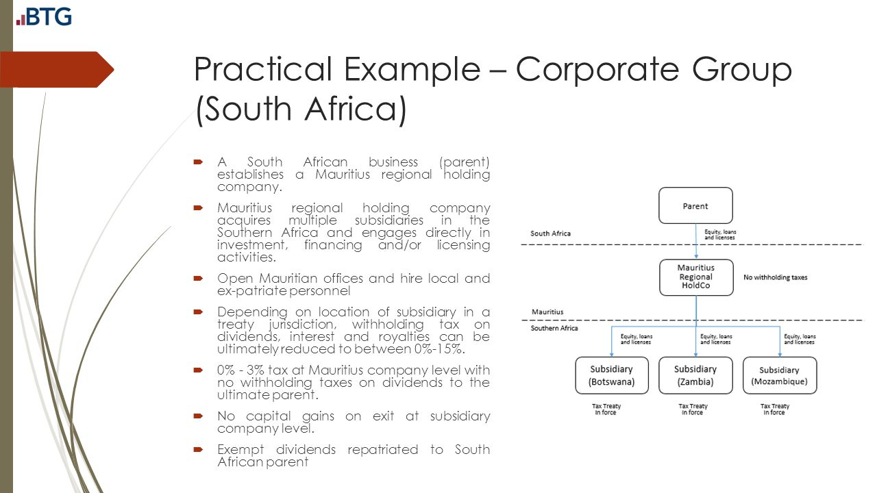 Practical Example – Corporate Group (South Africa)