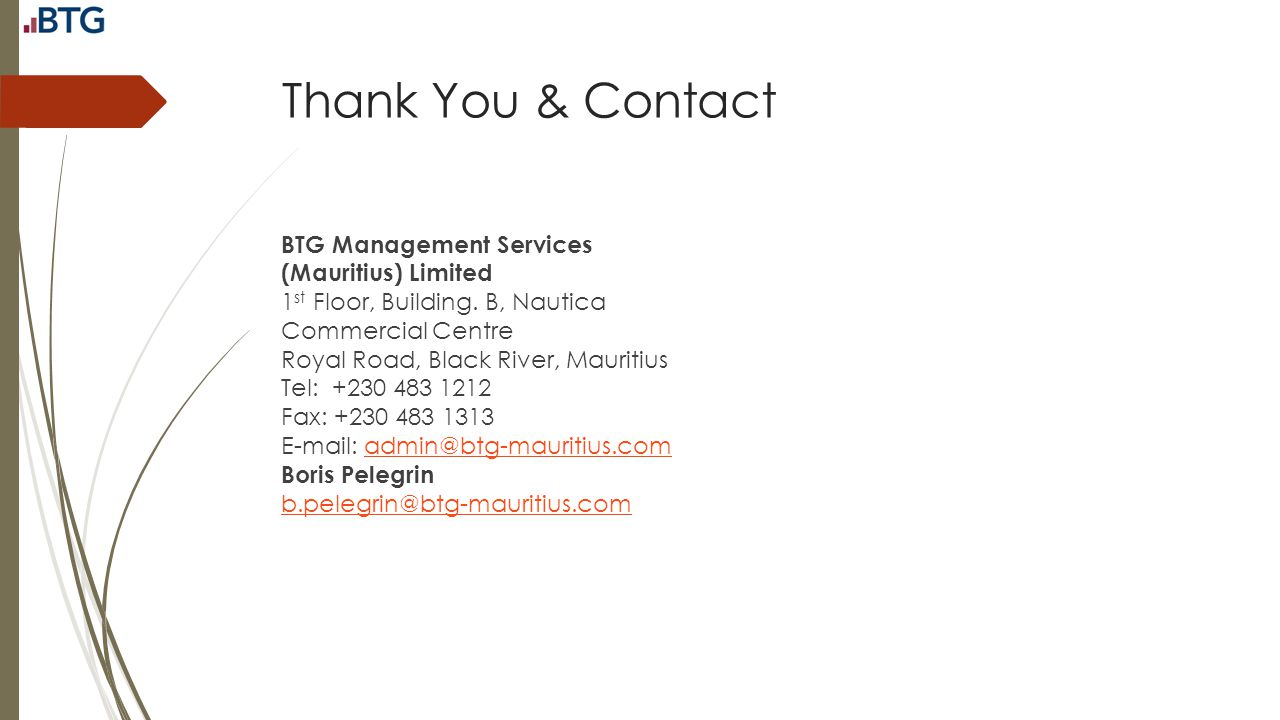 Thank You & Contact BTG Management Services (Mauritius) Limited