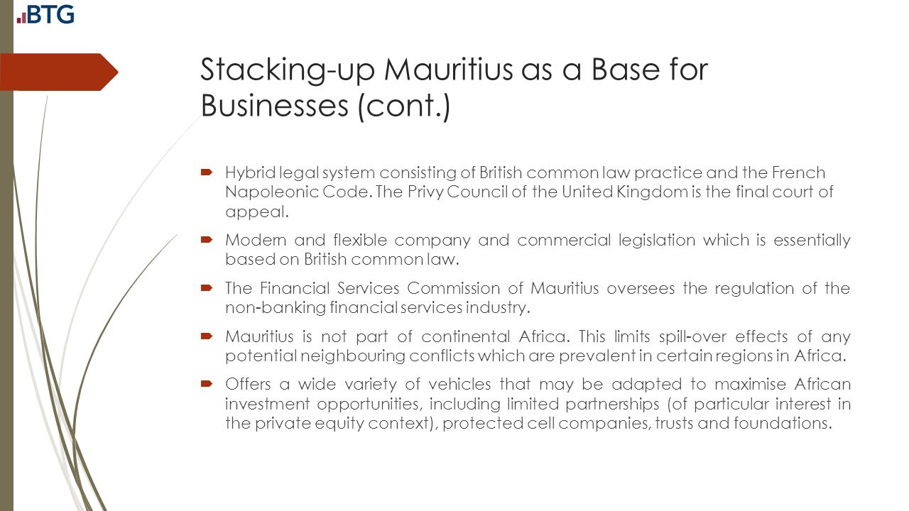 Stacking-up Mauritius as a Base for Businesses (cont.)
