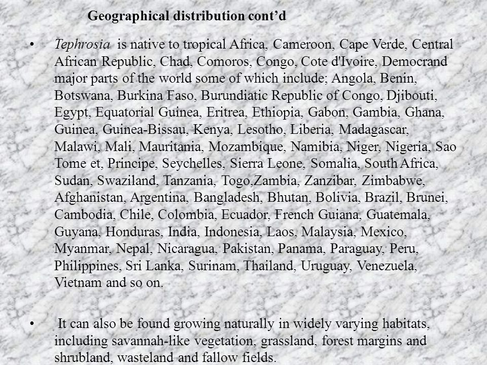Geographical distribution cont'd