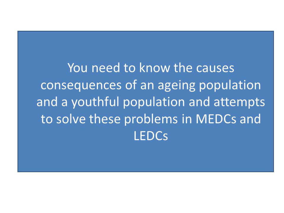 You need to know the causes consequences of an ageing population and a youthful population and attempts to solve these problems in MEDCs and LEDCs