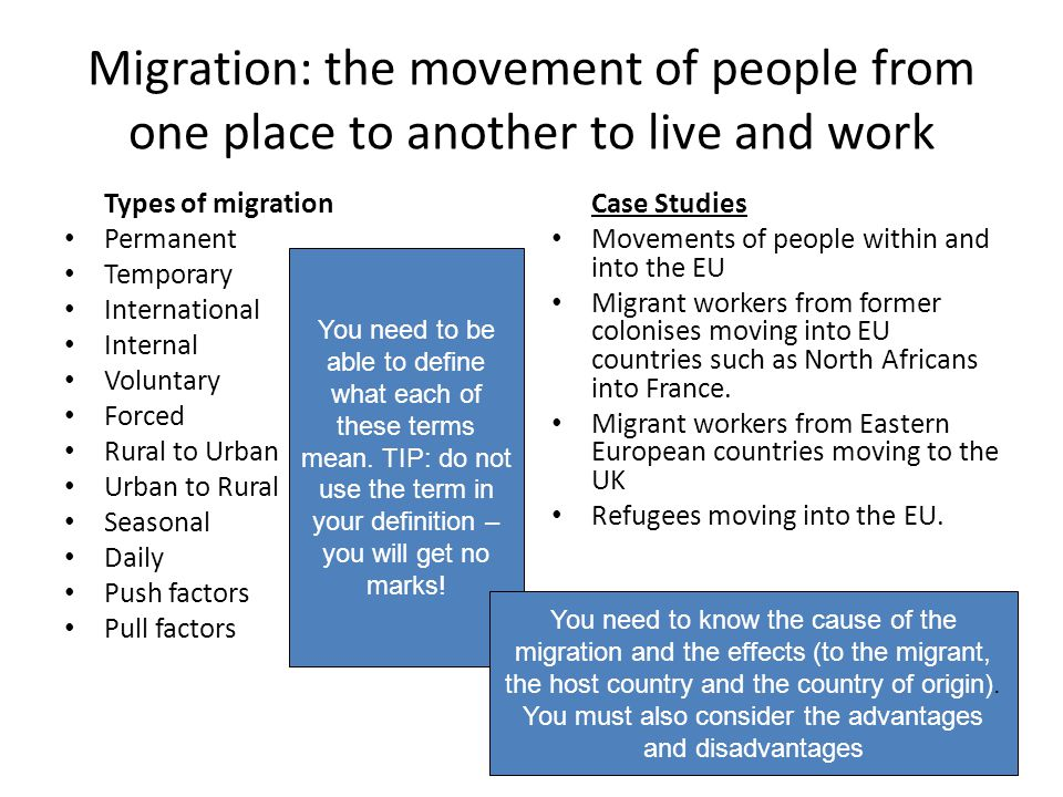 Migration: the movement of people from one place to another to live and work
