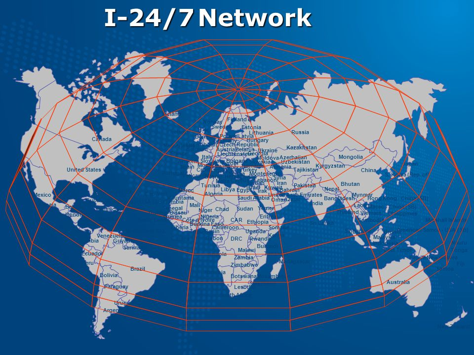 I-24/7 Network Iceland. Norway. Finland. Sweden. Estonia. Ireland. U. K. Lithuania. Russia.