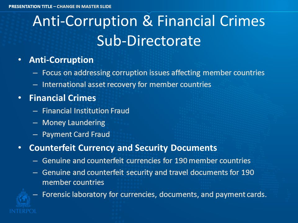 Anti-Corruption & Financial Crimes Sub-Directorate