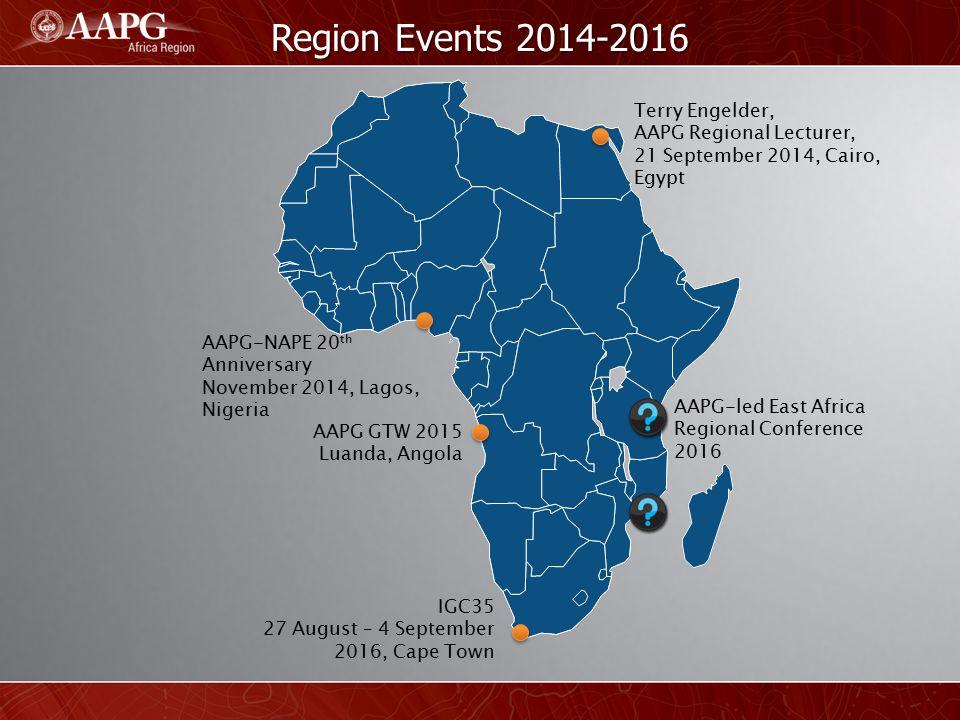 Region Events 2014-2016 Terry Engelder, AAPG Regional Lecturer,