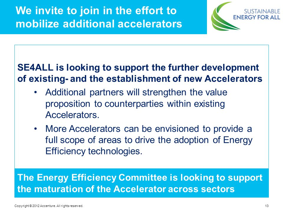 We invite to join in the effort to mobilize additional accelerators