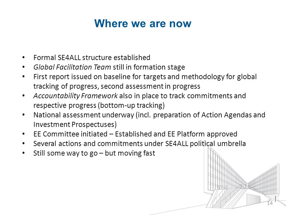 Where we are now Formal SE4ALL structure established