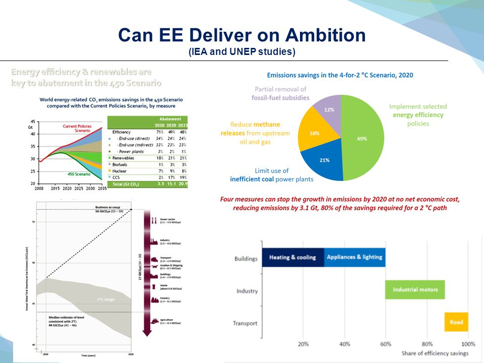 Can EE Deliver on Ambition (IEA and UNEP studies)