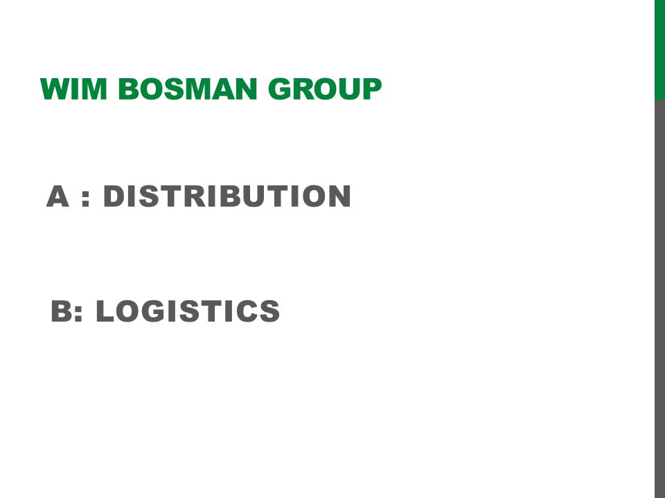 Wim Bosman group a : distribution B: logistics
