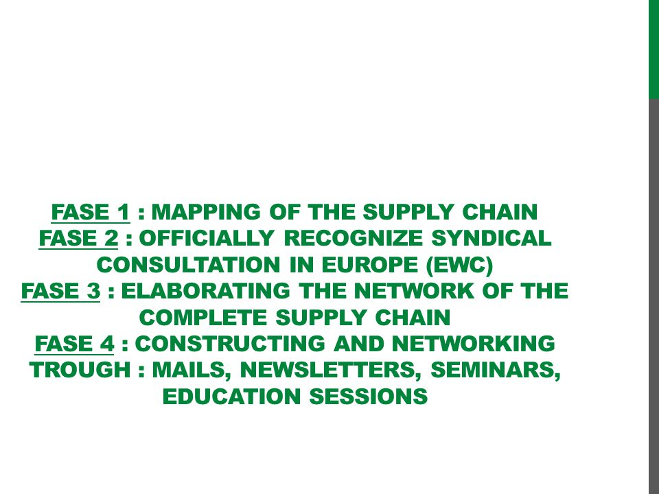 Fase 1 : Mapping of the supply chain fase 2 : officially recognize syndical consultation in Europe (EWC) fase 3 : elaborating the network of the complete supply chain fase 4 : constructing and networking trough : mails, newsletters, seminars, education sessions