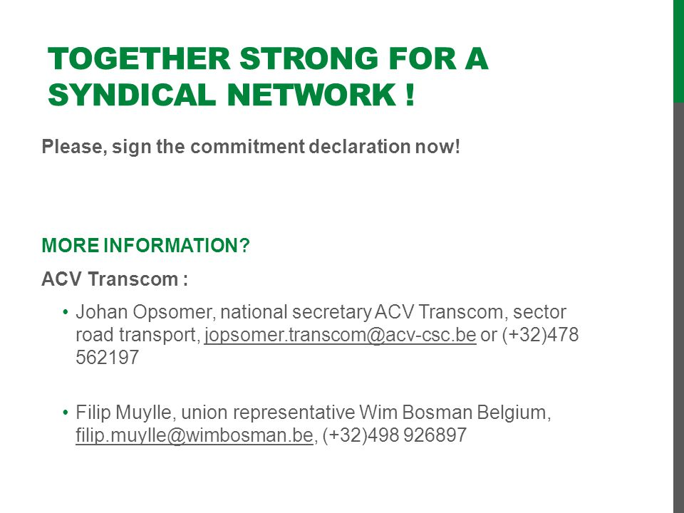 Together strong for a syndical network !
