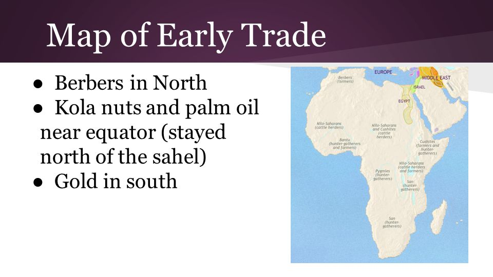 Map of Early Trade Berbers in North Kola nuts and palm oil