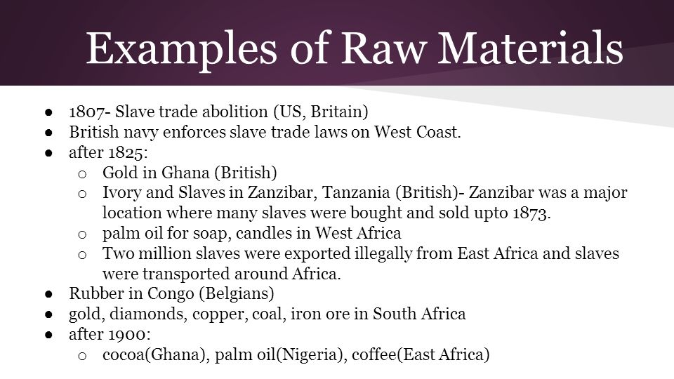 Examples of Raw Materials