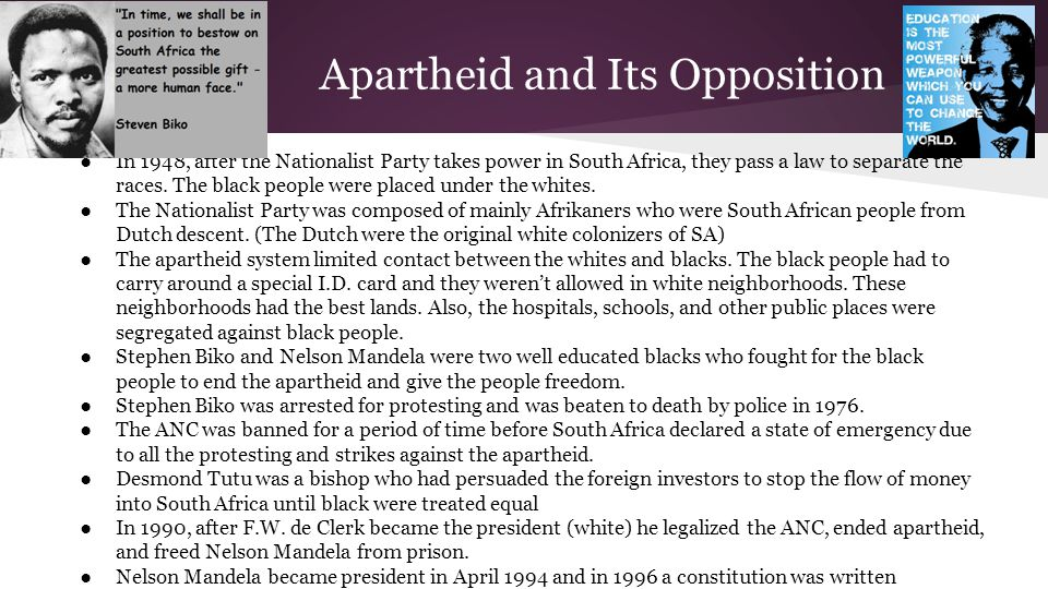 Apartheid and Its Opposition