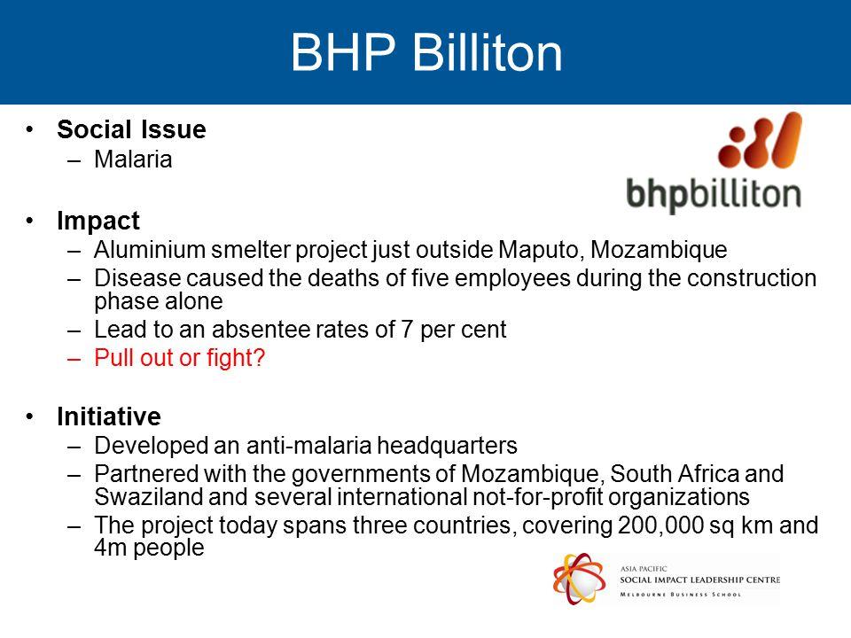 BHP Billiton Social Issue Impact Initiative Malaria