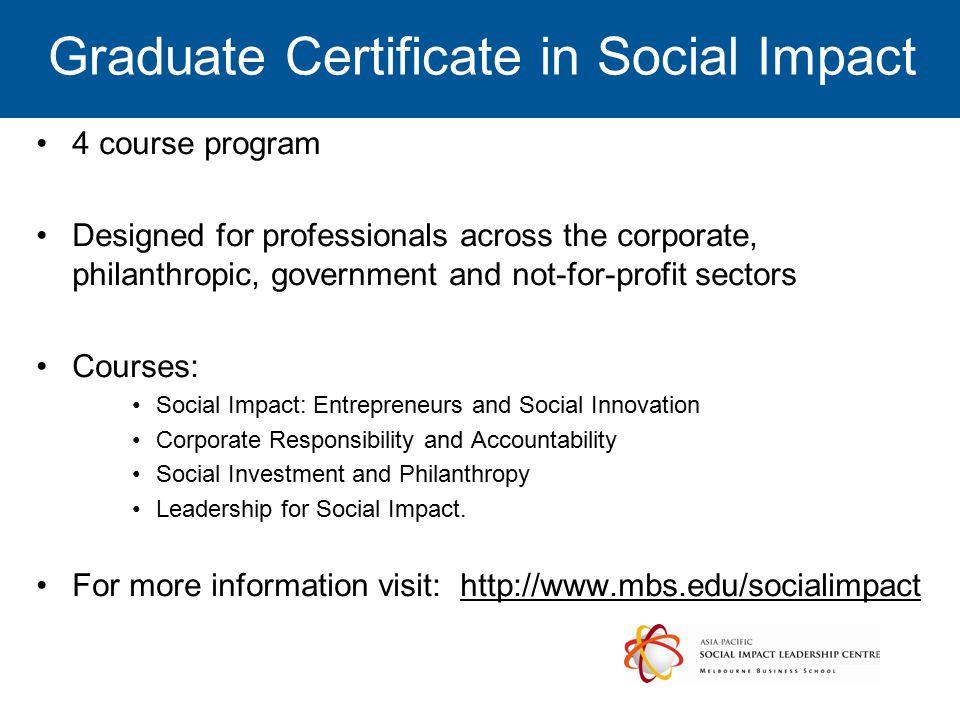 Graduate Certificate in Social Impact