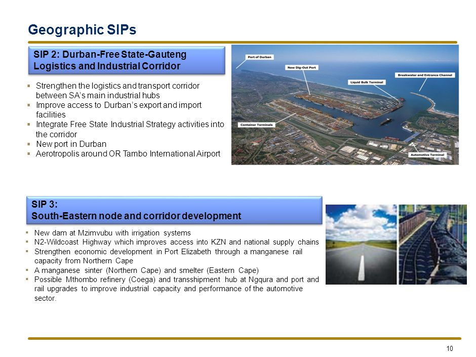 Geographic SIPs SIP 4: Unlocking the economic opportunities in the North-West Province.