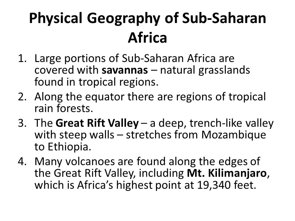 Physical Geography of Sub-Saharan Africa