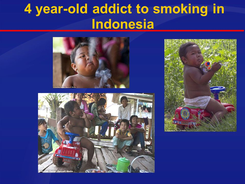 4 year-old addict to smoking in Indonesia