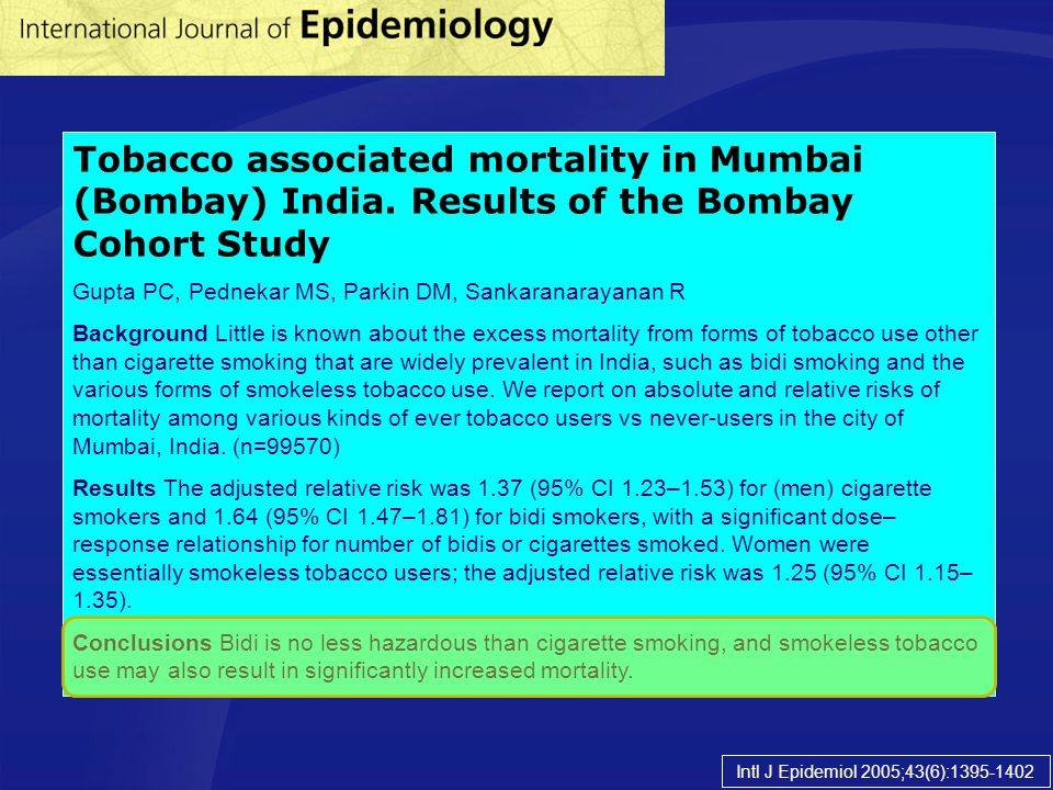 Tobacco associated mortality in Mumbai (Bombay) India
