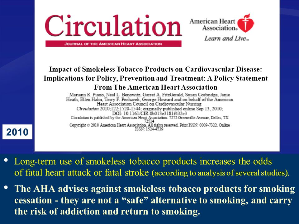 Impact of Smokeless Tobacco Products on Cardiovascular Disease: Implications for Policy, Prevention and Treatment: A Policy Statement From The American Heart Association