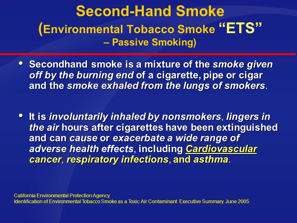 Second-Hand Smoke (Environmental Tobacco Smoke ETS – Passive Smoking)