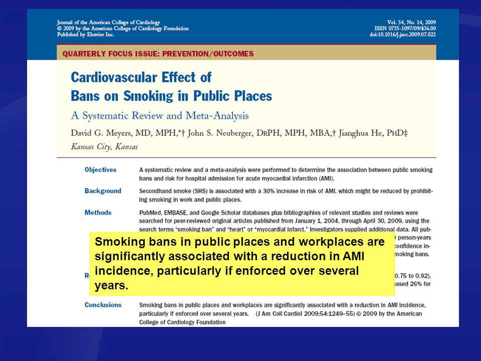 Smoking bans in public places and workplaces are significantly associated with a reduction in AMI incidence, particularly if enforced over several years.