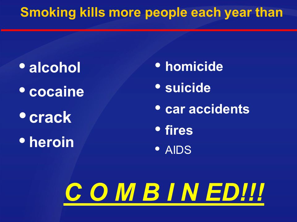 Smoking kills more people each year than