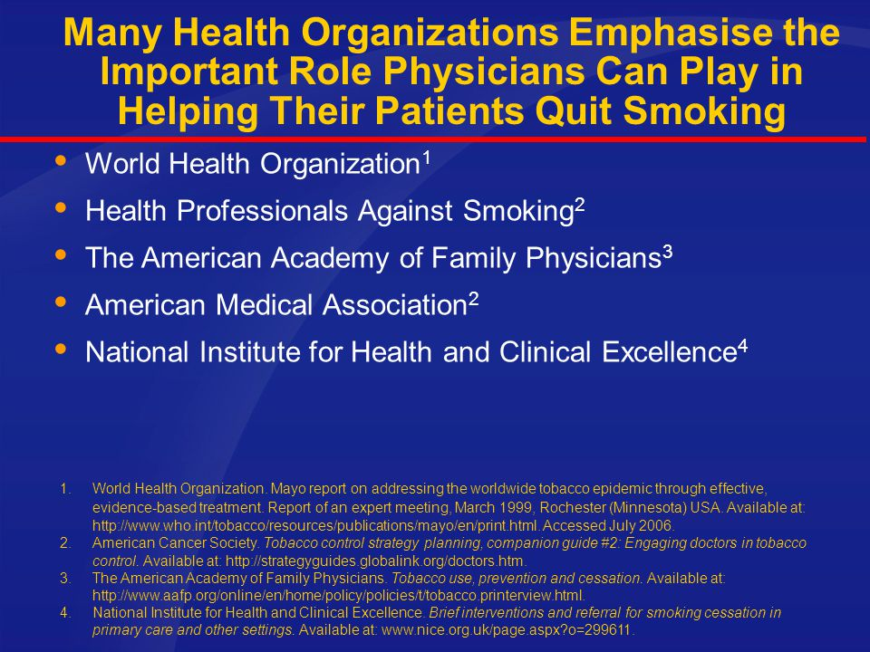 Many Health Organizations Emphasise the Important Role Physicians Can Play in Helping Their Patients Quit Smoking