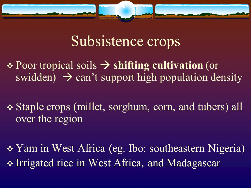 Subsistence crops Poor tropical soils  shifting cultivation (or swidden)  can't support high population density.