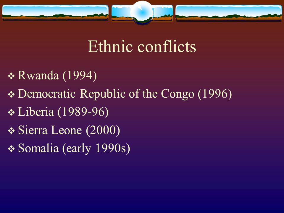 Ethnic conflicts Rwanda (1994) Democratic Republic of the Congo (1996)