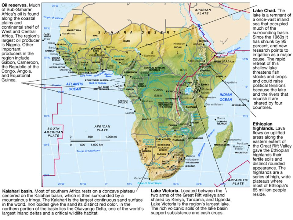 Eastern Africa is slowly being torn away from the rest of the continent; in tens of millions of years, eastern African will be separated from Africa