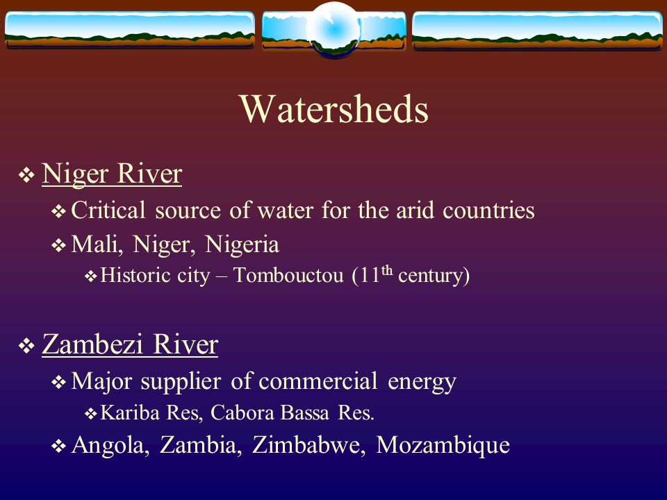 Watersheds Niger River Zambezi River
