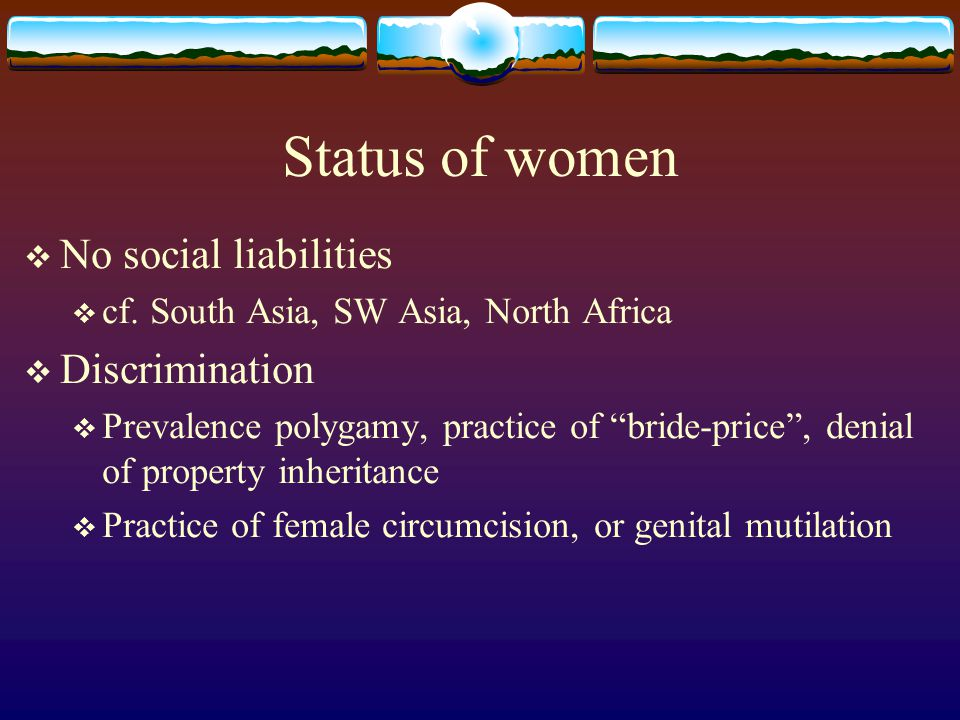 Status of women No social liabilities Discrimination