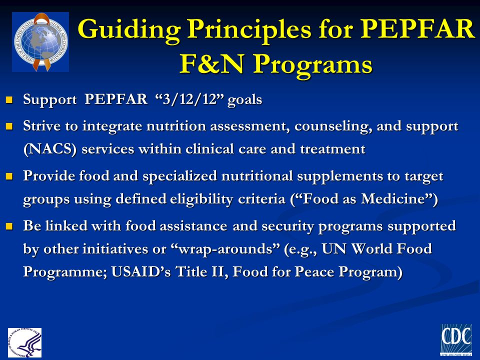 Guiding Principles for PEPFAR F&N Programs