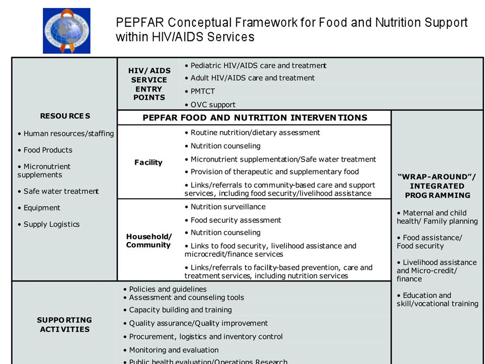 Summarized graphically, Food and Nutrition Support provided through PEPFAR is presented here.
