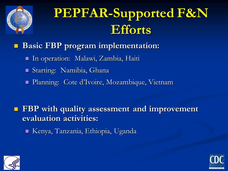 PEPFAR-Supported F&N Efforts