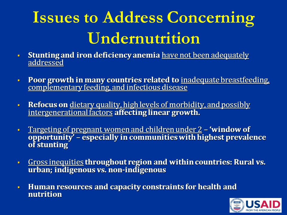 Issues to Address Concerning Undernutrition