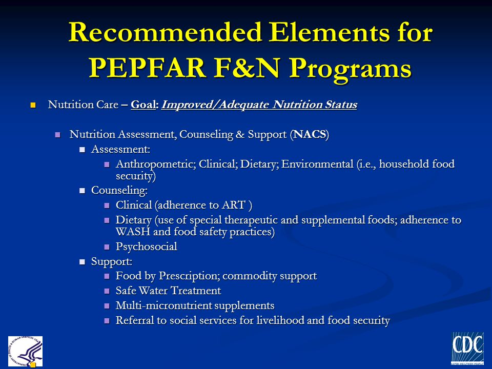 Recommended Elements for PEPFAR F&N Programs